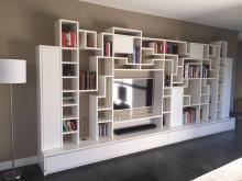Design televisiekast gecombineerd met boekenkast